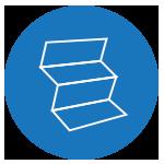 icono azul de terminación en imprenta